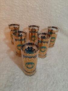 Set of 6 Georges Briard Highball Glasses Tumblers REGALIA TEAL Mid Century RARE