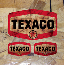 """5"""" Rusty Texaco Shield Gasoline Gas and Oil Sticker Decal Distressed - 3 for 1"""