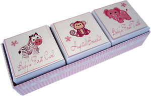 White Cotton Cards 3-in-1 Baby's First Tooth/Curl/Hospital Bracelet Box Pink