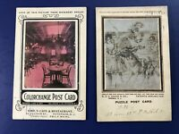 2 Antique Greetings Postcards w Optical & Color Change. For Collectors w Value