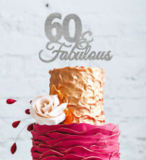 60 & Fabulous Cake Topper - Happy 60th Birthday Cake Topper - Glittery Silver