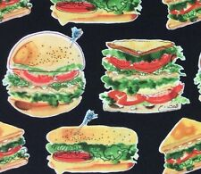 MD208 Hamburgers Sandwiches Subs Panini Lunch Food Dinner Cotton Quilt Fabric