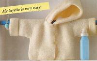 Easy Beginner Garter Stitch Baby  Hooded Jacket Set Aran  Knitting Pattern
