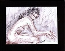 FEMALE NUDE by Ruth Freeman drawn in INK MEASURES  8 X 10 mounted on mat board