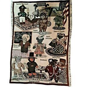"Vintage 1996 Tapestry Afghan Blanket Throw Famous Bears In History 43"" x 64"""