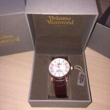 Vivienne Westwood Finsbury Brown Leather Rose Gold Rim Silver Gents Wrist Watch