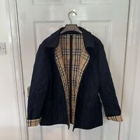 Womens Ladies BURBERRY Quilted Jacket Coat Size XL Navy Blue Nova Check