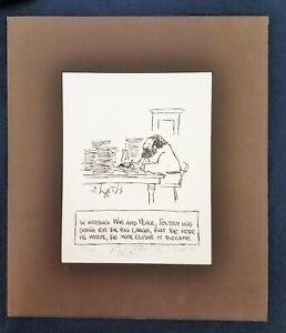 Cute Sidney Harris Tolstoy Cartoon Limited Ed Print & ORIGINAL Remarque SIGNED