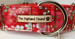 "1.5"" Japanese Blossom Handmade Martingale Dog Collar Greyhound, Whippet, Lurcher"