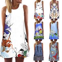Vintage Boho Women Summer Sleeveless Loose Beach Printed Short Mini Dress Beach