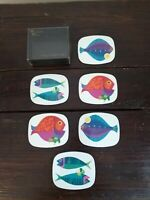 VINTAGE Retro 60s 70s Worcester Ware Savoy Cocktail Mat Coasters Set of 6- FISH