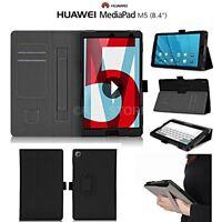 """COVER CUSTODIA per HUAWEI MEDIAPAD M5 8.4"""" IN VERA PELLE CON PORTA TESSERE NERO"""