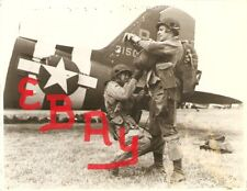 WWII 16X20 ACTION PHOTOGRAPH AIRBORNE PARATROOPERS D-DAY GEAR UP FOR MISSION WOW