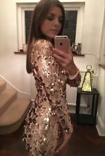 Women's Rose Gold Sequin Long Sleeve Mini Dress