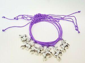 10x UNICORN BRACELETS Girls Party Bag Fillers Pink Purple Friendship Bracelet