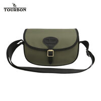 TOURBON Nylon & Leather Shotgun Cartridge Bag Clay Shooting Game Bag -Green