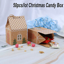 50x Christmas House Candy Box Kraft Paper Gift Bags Xmas Gift Packaging Decor TO