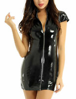 Black fake  faux leather mini dress strapless clubwear skin tight clothing