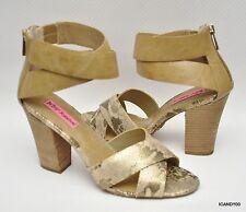 New Betsey Johnson BAZAR Open Toe Ankle Strap Pump Heel Sandal ~Tan/Snake *8.5