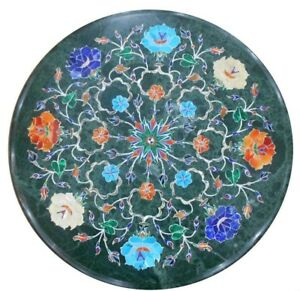 """12"""" green round marble Table Top floral inlaid semi precious stones art work"""