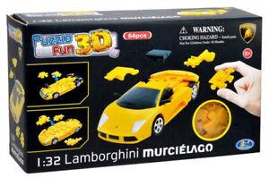 64pc Lamborghini Murciélago Yellow 1:32 Fun 3D Puzzle Yellow Jigsaw Model Car