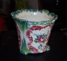 """Flower pot with three legs decorated with a rose and green trim 5"""" high 5 1/4"""" r"""