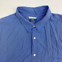 Breakwater Button Up Shirt Mens XXL Blue Stripe Short Sleeve Casual