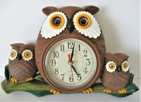 Vintage Eleco Quartz Wall Clock Owl Family Brown Baby Mommy Owl VHTF RARE