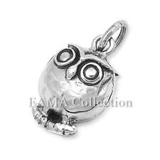 Cute FAMA 925 Sterling Silver Owl Pendant Charm