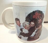"""Vtg. 1955 Home For Christmas Norman Rockwell Family Trust Coffee Cup Mug 3.75"""""""