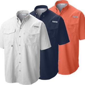"New Mens Columbia PFG ""Bahama II"" Omni-Shade Vented Short Sleeve Fishing Shirt"
