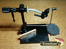 PEDESTAL BASE ROTARY FLY TYING VISE w' HACKLE GAUGE & CASE NEW FLY FISHING TOOL