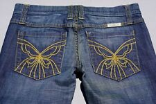 Frankie B Low Rise Bootcut Stretch Denim Jeans. Butterfly Stitching. Size 4, GUC