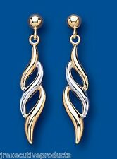 Drop Earrings Dangle Earrings Two Colour Gold Drps Yellow and White Gold Earring