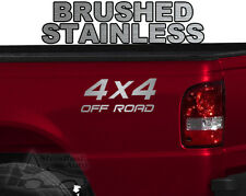 """4X4 OFF ROAD TRUCK SUV JEEP 2 @ 10"""" X 4"""" VINYL DECAL STICKER - STAINLESS STEEL"""