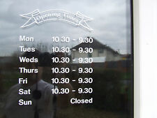 Shop office opening times window vinyl lettering