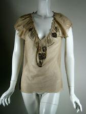CHAN LUU Beige Netted Sequin Sheer Blouse Size Medium