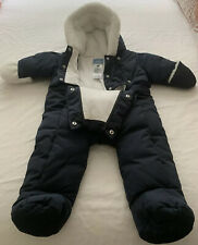 Warm Jacadi Baby Navy Hooded Fleece Girls/Boys Snowsuit