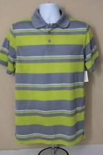 NEW Mens Polo Shirt XL Green Gray Striped Top Collar Golf Nice Short Sleeve