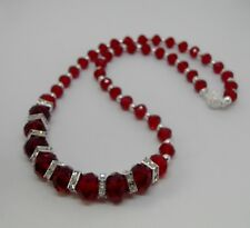 Red Faceted Graduated Crystal Necklace with Magnetic Clasp