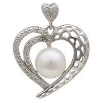 Anhänger Herz mit Perle Süßwasser Zuchtperle Zirkonia weiß 925 Silber, Damen