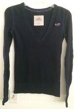 Hollister Logo V-Neck Navy Blue Sweater - Size Small 3/5 Cotton Blend