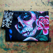 Sugar Skull Calavera Flower Gothic Lowbrow Cosmetic Bag Small Clutch Makeup Case