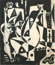 "Artist Robert Gilberg Original Pen & Ink on paper ""Abstract People"" 1953"