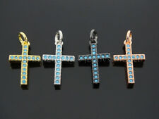 Zircon Gemstones Pave Turquoise Cross Pendant Charm Beads 10x19mm Silver Gold