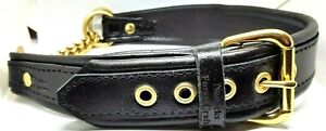 Black on Black leather Martingale dog collar with Solid brass hardware