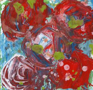 12x12 Print - Red Roses Floral Flower Painting Print Katie Jeanne Wood