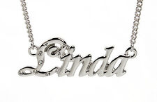 18K White Gold Plated Necklace With Name LINDA - Christmas Appreciation Nekless