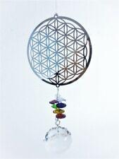 Blume des Lebens mit Kristall + 7 Chakra Steine Edelstahl Fensterbild Windspiel