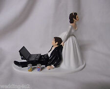Wedding Game Over Soda Cans Laptop Computer  Geek Cake Topper ~Both Dark Hair~